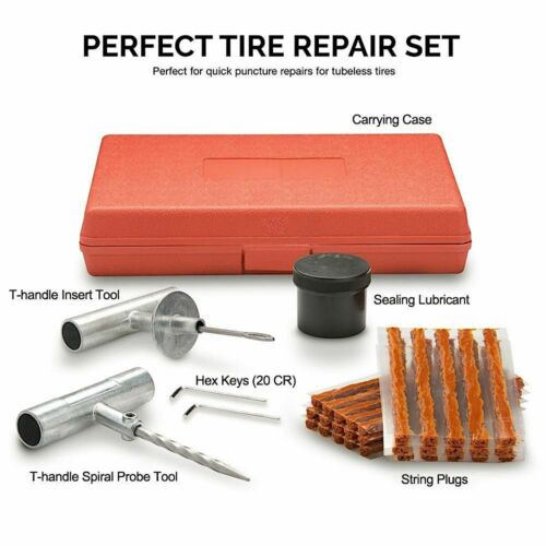 Motor Dirt Bike ATV and Motorcycles Flat Tire Heavy Duty Patch Kits with Plugs Portable Compact 4 in 1 Multi-Tools Plug Motorcycle Accessories for Men MotoPressor Tubeless Tire Puncture Repair Kit