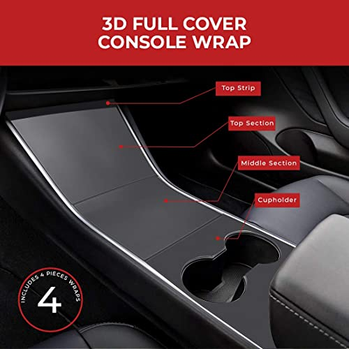 Console 3D Protector Cover ABS Plastic Easy Installation Fits Tesla Model 3 2017 2018 2019 2020 Black Matte BougeRV for Tesla Model 3 Center Console Wraps Kit