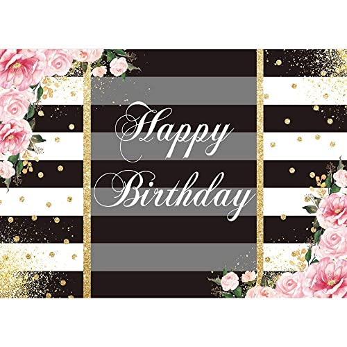 AOFOTO 7x5ft Kid Adult Birthday Backdrop Silver and Black Striped Background Baby Shower Child Photos Decoration Party Supplies Family Bday Celebration Photography Portraits Shooting Prop Vinyl
