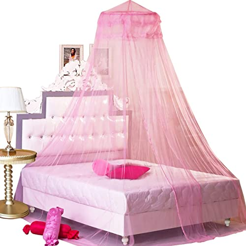 Bcbyou Pink Princess Bed Canopy, Queen Size Bed Hanging Canopy