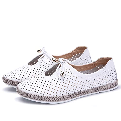 Gecatiso Womens Ballet Flats Leather Slip On Loafers Shoes