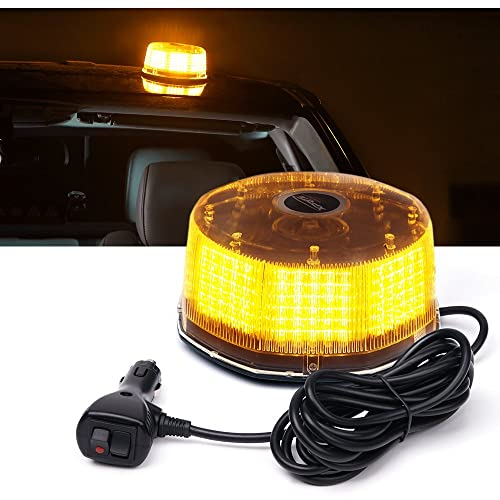 Waterproof DT MOTO 2.5 by 5.25 Low-Dome 240-LED Amber Emergency Strobe Beacon Light w// 240-LEDs Vehicle Warning Flashing Rotating Roof Safety Hazard Light 14-Patterns and Magnetic Mount