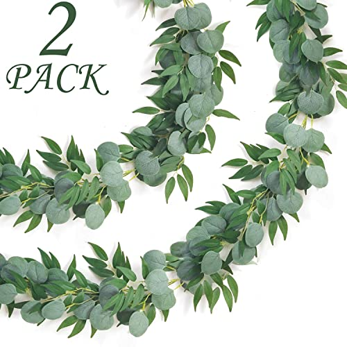 Buy Camlinbo 2 Pack Eucalyptus Willow Garland Artificial Greenery Garland Total 13ft Leaf Garland Wedding Vines Ivy Garland Hanging For Wedding Arch Backdrop Wall Party Outdoor Indoor Decor Online In Finland B082vzm4s6