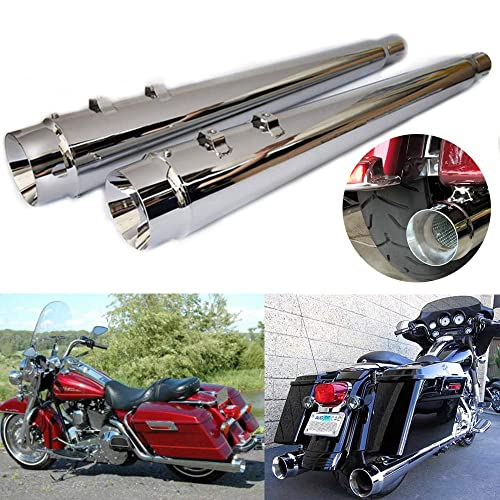 """4/"""" Slip-On Mufflers Exhaust Pipes For Electra Street Glide Road King 1995-2016"""