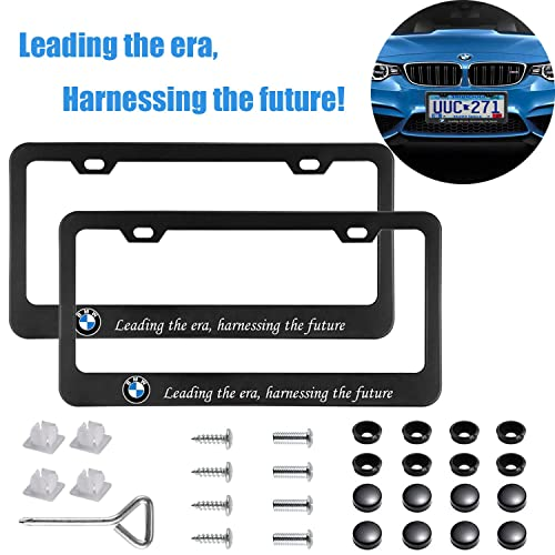 2-Pieces Newest Matte Aluminum Alloy License Plate Frame for BMW,Applicable to US Standard car License Frame,FBA Fast Delivery(Native BMW)/…