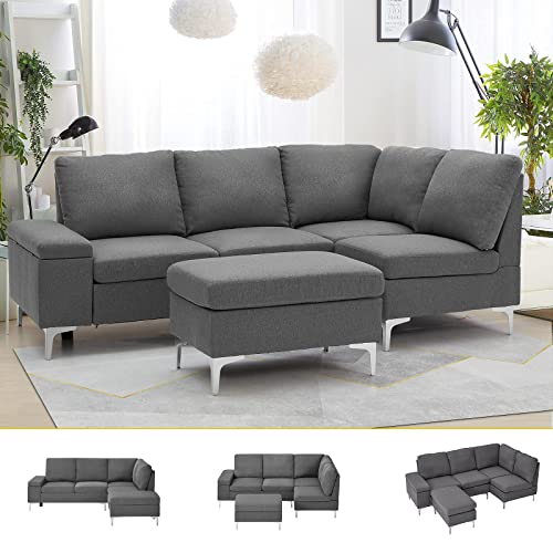 Esright Right Facing Sectional Sofa, Large Linen Fabric Sectional Sofa With Left Facing Chaise Lounge