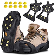 Snow Grips Crampons Anti-Slip Traction Cleats Ice /& Snow Grippers for Shoes and Boots 10 Steel Studs Slip-on Stretch Footwear for Women Men Kids Fiersh Ice Cleats Extra 10 Studs