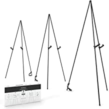SCZS Folding 63 Tall Heavy Duty Artist Easel Display Floor Poster,Black Steel Metal Telescoping Easel Tripod Stand for Painting/&Displaying