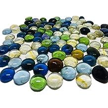 100PCS Mixed Color Blue Glass Beads for Vases Flat Gems Aquarium Pebbles Decorative Vase Filler Table Scatter Decor HOKPA Flat Glass Marbles 1lb