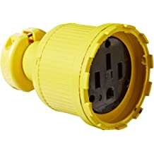 2 Pole//3 Wire KH Industries C520DF Rubber//Polycarbonate Rewireable Flip Seal Straight Blade Connector Yellow 125V AC 20 amps