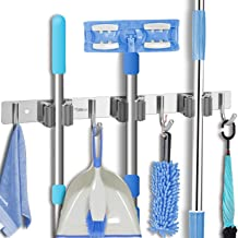 YOUTHINK Broom Holder,2PCS Wall Mount Mop Holder Stainless Steel Storage Organizer Heavy Duty Garden Tool Hanger with 3 Racks 4 Utility Hooks for Garage Rake Kitchen Shed Home