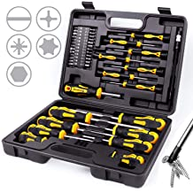 Plastic Racking Best Tools for Men Tools Gift HORUSDY 44-Piece Magnetic Screwdriver Set with Go-Thru Steel Blades High Torque