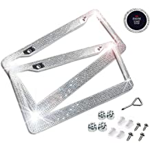 Bling Diamond Black Metal Car Licence Plate Frames For Front and Back License