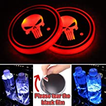 Gadsden Flag USB Charging Mat Luminescent Cup Pad,DTON LED Interior Atmosphere Lamp CARSA 2pcs Dont Tread On Me LED Cup Holder Lights
