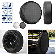 Fit 23-27 inches BCP Black Color PU Leather Spare Tire Cover