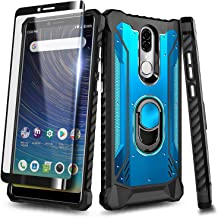 with Tempered Glass Screen Protector Asus ZenFone Max M1 ZB555KL Case Leather Case Slim Fit Phone Cover Protective Skin Case for Asus ZenFone Max M1 ZB555KL- Black 360 Degree Protection