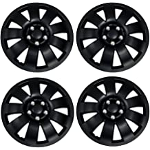 Pop-On 15-Inches Matte Black Hubcaps Wheel Cover TuningPros WSC3-026B15 4pcs Set Snap-On Type