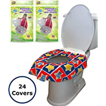 Cleanliness No Slip Promotes Proper Hygiene Flushable Disposable Paper Large Size Travel Toilet Seat Cover Messes 2 20 Pack Potty Seat Cover Reduce Germs with Adhesive Kid-Friendly