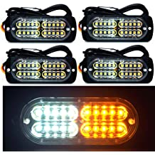 Emergency Surface Mount Grill Flashing Warning Light 12V 24V Universal for Car Truck Trailer Caravan Camper Van Justech 4 IN 1 Strobe Lights Amber Hazard Warning Beacon Light with Car Charger
