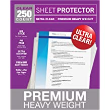 8.5 x 11 Inches Samsill 50 Pack No Hole Clear Sheet Protectors Heavyweight and Top Leading
