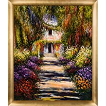 overstockArt Monet Artists Garden at Giverny Artwork with Athenian Antique Silver Finish