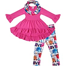 Top Leggings Scarf 3pc Set Boutique Toddler Little Girls Valentines Day Love Hearts Outfit Set