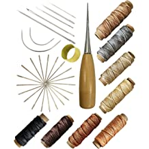 Drilling Awls for Leather Canvas Sewing Thread,Tape Measure AIEX 29Pcs Upholstery Repair Kit Leather Hand Sewing Craft Tools with Needles